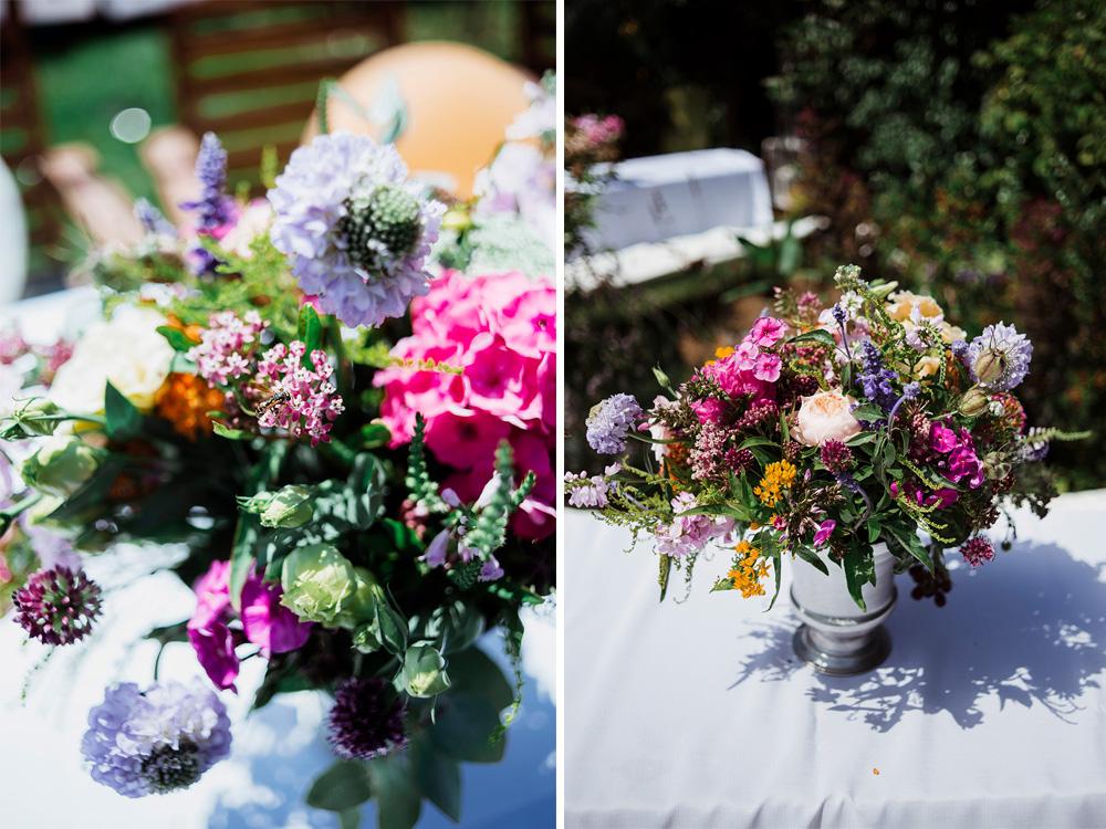 kwiaty slubne na stoly - wesele w ogrodzie we wroclawiu