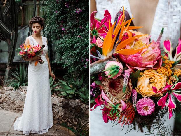slubny bukiet kwiaty egzotyczne - sesja poslubna w palmiarni