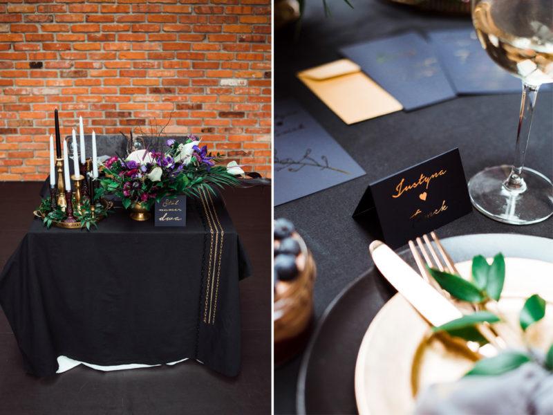industrialne wesele w restauracji warsztat wroclaw - czarne dodatki na slubie