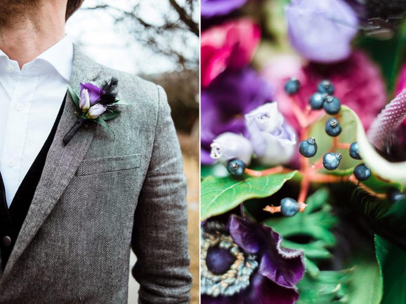 wesele w restauracji warsztat wroclaw - fioletowe kwiaty na slubie