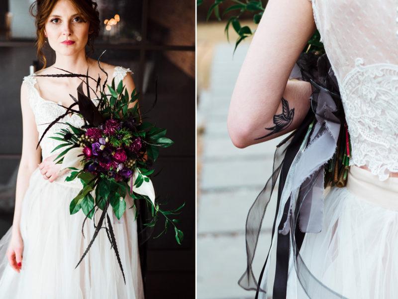 bukiet slubny z fioletowymi kwiatami - wesele w restauracji warsztat
