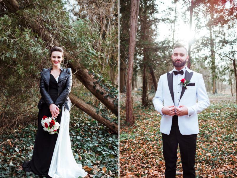 naturalna sesja slubna we wroclawiu - park grabiszynski - czarno-biala suknia slubna
